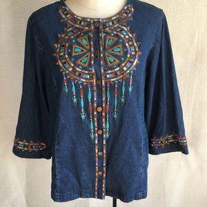 Bob Mackie Vintage Embroidered Denim Shirt Jacket